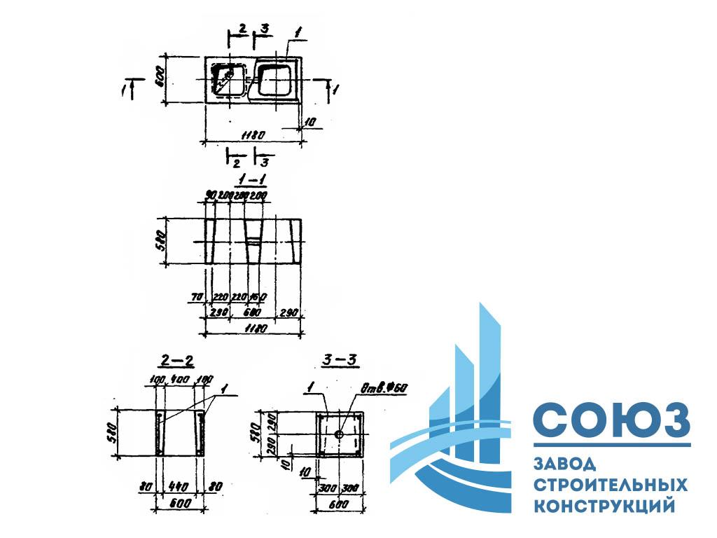 Фундаментный блок ФБП12-1. Серия 3.004.1-9