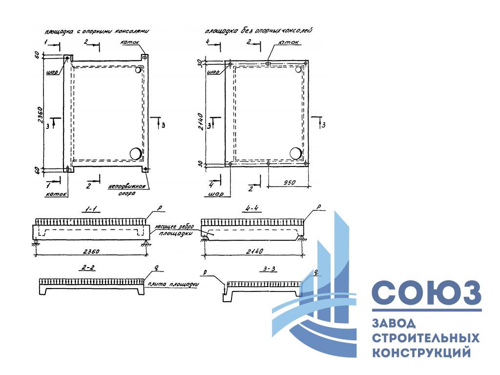 Лестничная площадка ребристая 2ЛП22.19-4-км. Серия 1.152.1-8 выпуск 7