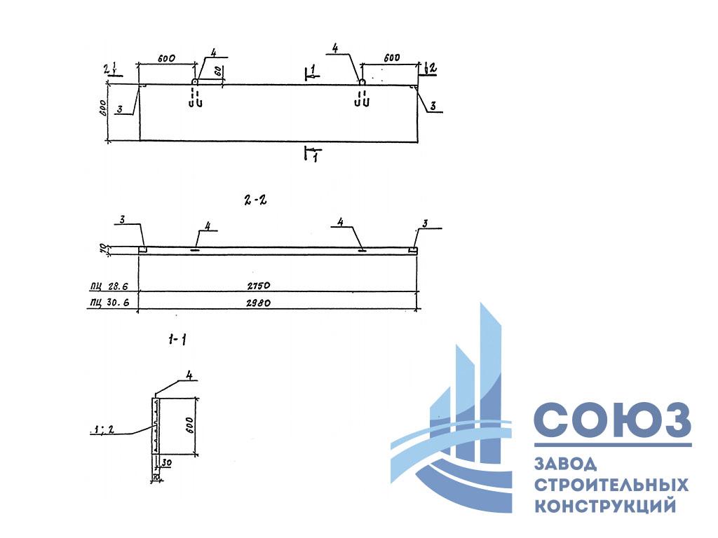 Панель цокольная ПЦ28.6 . Серия 3.017-3