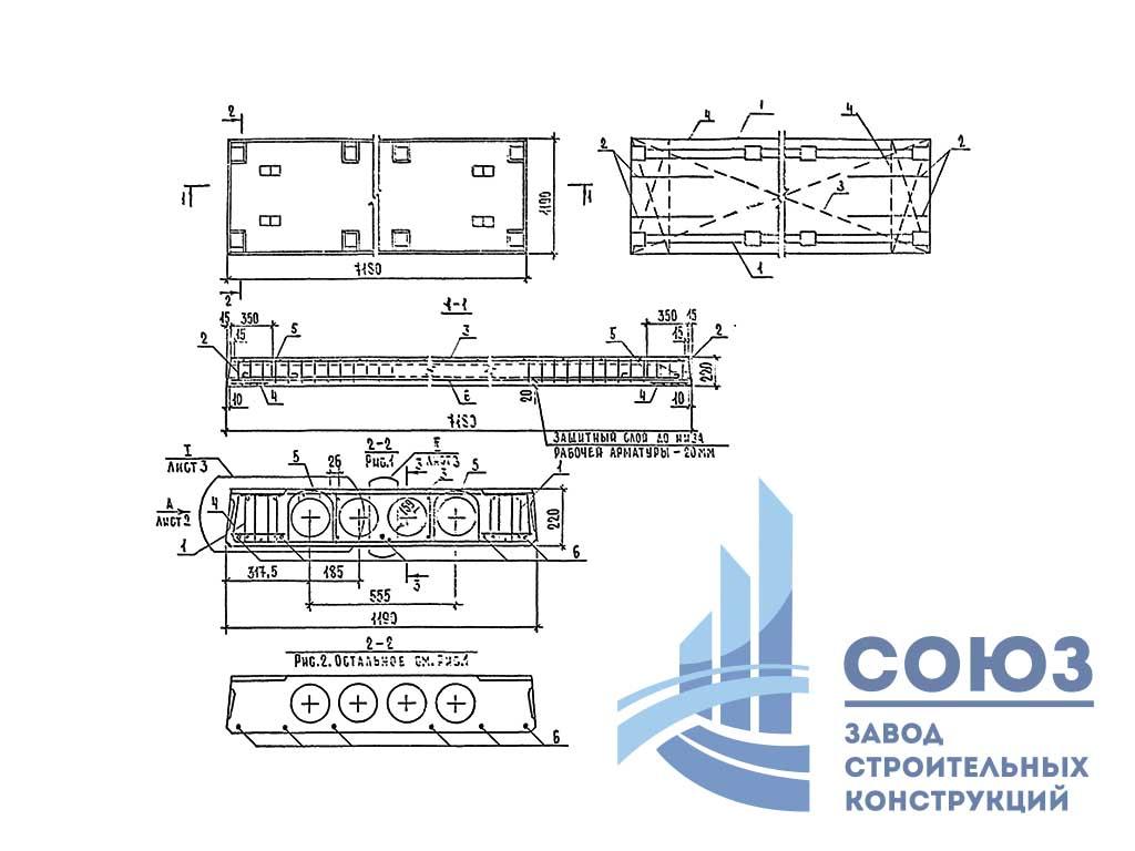 Плита П 72.15-8 АтV-1С9. Шифр 89-1227