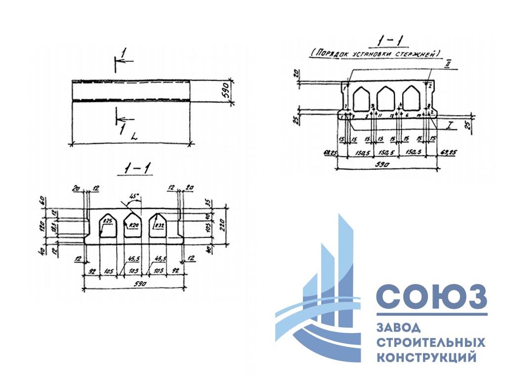 Плиты армированные проволокой 1П 24.6 по сериии Шифр 0-312