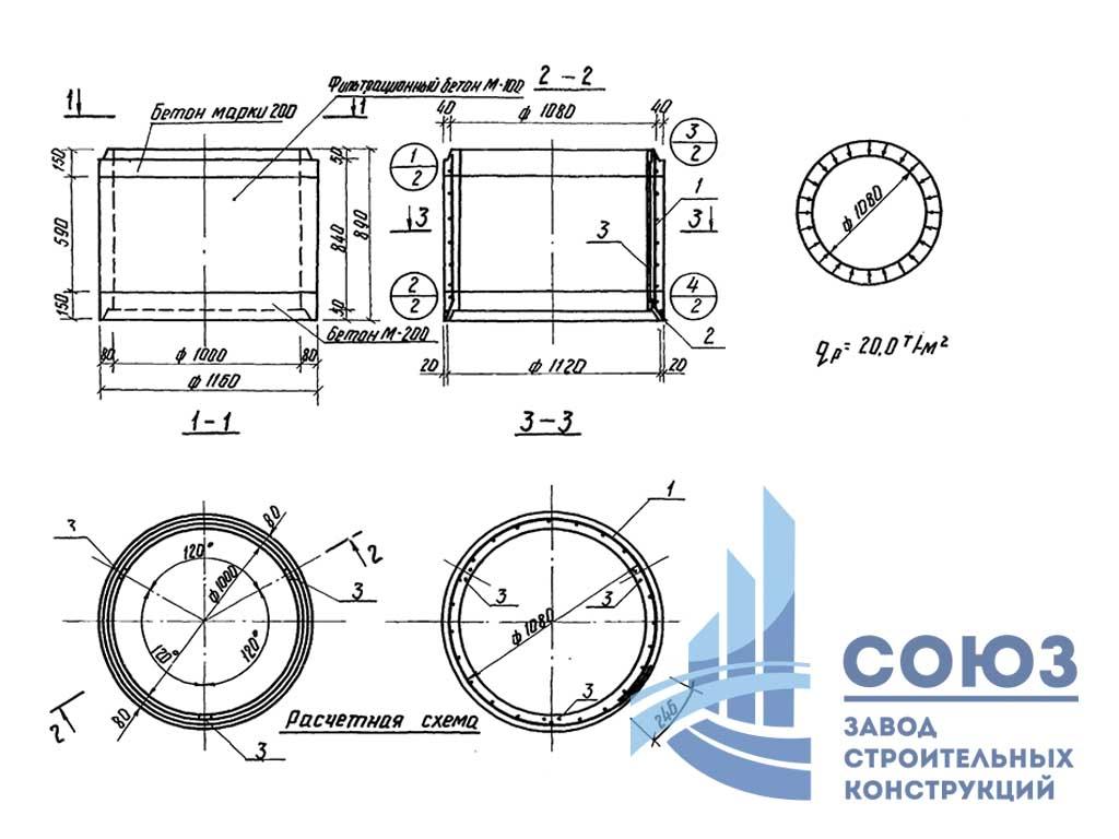 Кольцо шахтных колодцев железобетонное КШ10-1 . Серия 3.820-23 выпуск 1
