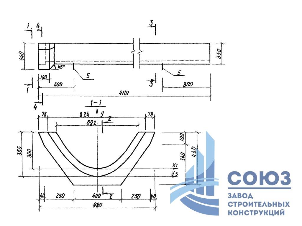 Лоток водоотводный параболический железобетонный ЛР-3. Серия 3.820-23 выпуск 1
