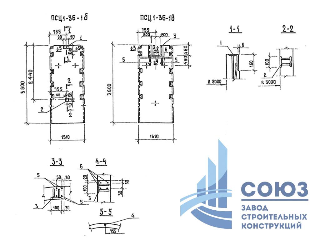 Панели стеновые ПСЦ 1-36-1а. Серия ТП 902-2-356