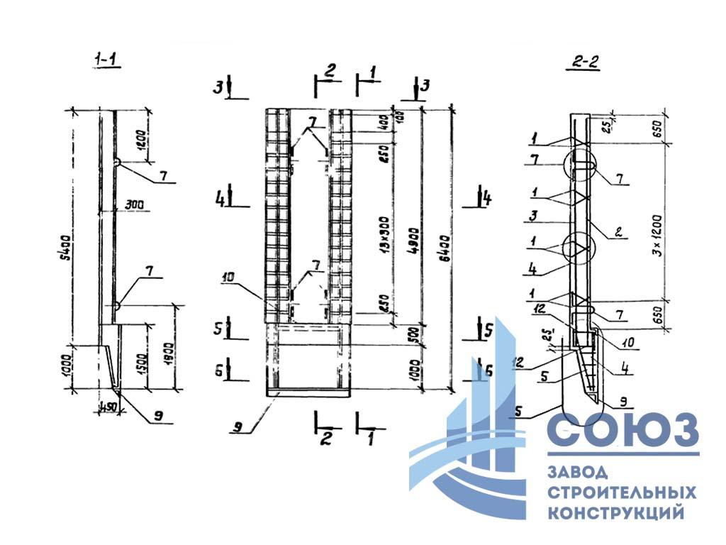 Панель стеновая 2ПС54-1к Серия 3.902.1-12