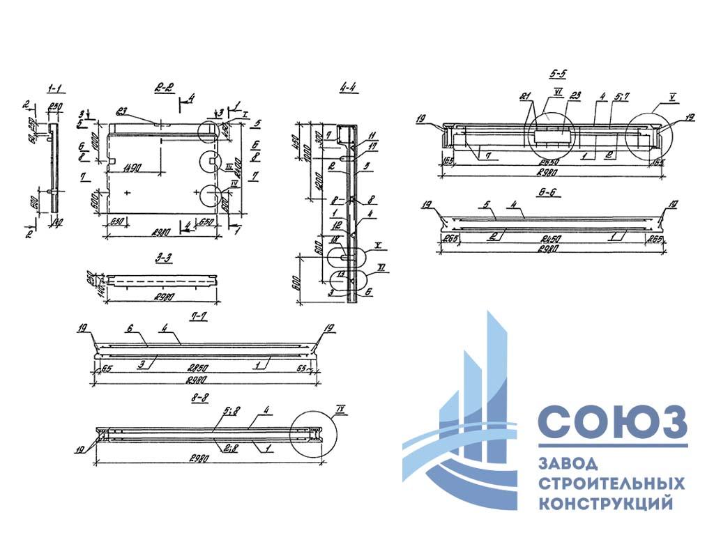 Панель стеновая ПС1-24-Б-Г1. Серия 3.900.1-10 выпуск 1-1