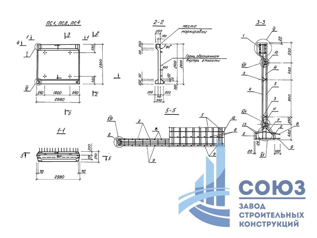 Панель стеновая ПСП24-Б1-К. Серия 3.900.1-10 выпуск 2-7